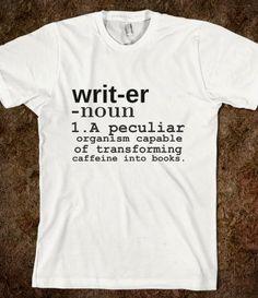 Writer T-Shirt from Glamfoxx Shirts