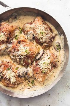 Creamy Parmesan Chicken and Mushrooms | lecremedelacrumb.com