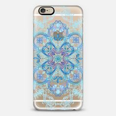 Art Nouveau Lace in Aqua, Cobalt & Purple on Transparent Phone Case | iPhone 6 | Casetify | Graphics | Painting | Transparent  | Micklyn Le Feuvre - Use code 6SP8GR to get $10 off your first order. #casetify #freeshipping