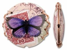 Interesting & different. Great for bracelet or necklace. Retro Copper Coin Bead - Purple Butterfly