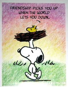 Friendship picks you p when the world lets you down. #Snoopy #Woodstock #Friendship_Quote
