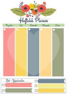 Haftalık Planlayıcı Printable Planner, Planner Stickers, Free Printables, Bullet Journel, Life Hacks For School, Bullet Journal Aesthetic, Calendar Design, Mandala Art, How To Plan