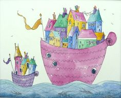 Colourful House boats in bright colours an original watercolour painting, sailing the seas