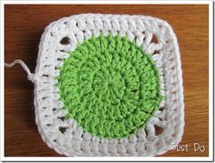 Circle in a square for polka-dot blankets.