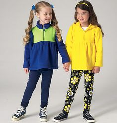 Zip-up jackets and leggings sewing pattern from Kwik Sew. K4129, Girls' Tops and Leggings