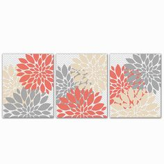 Chevron Coral Gray and Beige Tan Flower by PurpleChickletPrints, $35.00