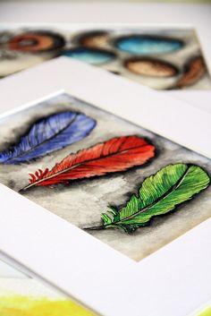 alisa burke  indigo, ruby, sage feathers