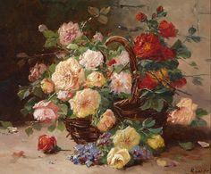 L. Roussel -     Basket of Roses,     1900