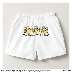 You Checking Out My Buns? Men's Boxers Underwear.  Text can be customized. Cute cartoon cinnamon roll sweet honey buns design with funny quote on the butt makes a great gag gift for someone who likes baking, food, or dessert humor or who just loves the sweet buns - baker, pastry chef, foodie, workout / exercise enthusiast, or the guy proud of his booty.  Great boxers with humor for a no pants party where no pants are the best pants. #funnyunderwear #nopants #sweetbuns #cinnamonrollgifts