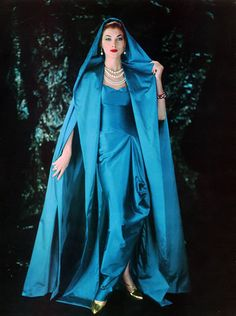Gown by Madame Gres 1957 vintage fashion style color photo print ad model magazine blue teal evening gown satin dress cape hood Madame Gres, Vintage Outfits, Vintage Gowns, Vintage Clothing, 1950s Style, Moda Vintage, Vintage Mode, Vintage Glamour, 1950s Fashion