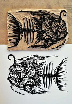 Xilogravura - Samuel Casal - good example of using lines to create shape---I know it's a stamp but I must learn to draw this! Too fun! Woodblock Print, Fish Art, Printmaking, Print Making, Relief Printmaking, Art, Linocut Art, Artsy, Prints