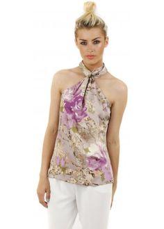 Lilac Floral Scarf Print Halter Neck Top