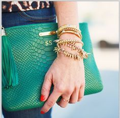 I adore this arm party! Green & Gold… I see two Stella & Dot Renegade Cluster Bracelets www.stelladot.com/saraheggleston