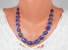 Blue Lapis Lazuli Semi Precious Gemstone Necklace by ToriaTeeUK