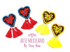Mexican Fashion, Jewerly, Crochet Earrings, Gems, Mexican Art, Mud, Crystals, Stud Earrings, Hearts