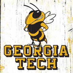 Georgia Tech University Buzz Vintage Wooden Sign