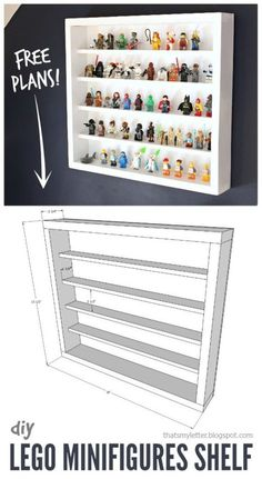 How to build a Lego minifigurine shelf with free plans. - How to build a Lego minifigurine shelf with free plans. Lego Shelves, Lego Storage, Display Shelves, Lego Display Case, Minifigura Lego, Legos, Lego Batman, Vitrine Lego, Lego Regal
