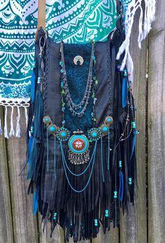 Flecos De Cuero Negro Hecho a Mano Bolsa Turquesa Boho Hippie o gitano OOAK L cartera B. Joy | Ropa, calzado y accesorios, Carteras y bolsos de mujer, Carteras y bolsos de mano | eBay!