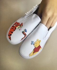 Jan 2020 - Hand painted Winnie the Pooh and Tigger shoes 🍯🐠Custom Vans Shoes, Mens Vans Shoes, Custom Painted Shoes, Hand Painted Shoes, Vans Men, Painted Sneakers, Disney Painted Shoes, Disney Shoes, Vans Shoes Fashion