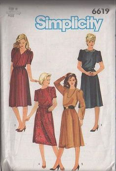 MOMSPatterns Vintage Sewing Patterns - Simplicity 6619 Vintage 80's Sewing Pattern Classic Style Retro Secretary Office Dress, Flared Skirt, Tulip Sleeve Size 6-10