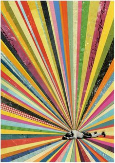 inches, martin o'neil Collage / Rainbow / vintage photograph / Speaker / vintage / retro / mixed media / art