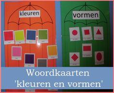 Woordkaarten 'Kleuren en vormen' | Klas van juf Linda