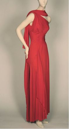 Evening Gown, mid-1940s silk jersey one-shouldered gown, matching drape by Valentina