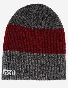 Neff - Trio Beanie charcoal maroon black