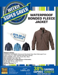 Our Weekly Super Saver brings the H2Xtreme waterproof bonded fleece jacket from STORMTECH. Your 12 piece minimum order includes 5K stitches of embroidery and no addt'l cost for sizes up to 3XL. 38% OFF! #apparel #outerwear #jacket #stormtech #logo #B2B #marketing #advertising #halobrandedsolutions #thetrekpass #gift #incentives #promotionalproducts #wearables #branded #business #promo #uniform #company #warm #fleece #waterproof #coffee #navy #Seattle #12 #embroidery #sale #weeklysupersaver