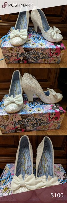 Irregular Choice Nick of Time Heels Bow White sz 8 Nick of Time Cream/White size EUR 39 US 8 New with defects (pink sequin under bow) I've only ever tried these on around the house, they are just a bit too small for me. Irregular Choice Shoes Heels