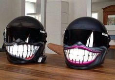 Couples smiley helmets