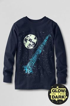 Boys' Long Sleeve Graphic T-shirt from Lands' End- Classic Navy Rocket Size 8