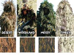 Choose the type of the Ghillie suit according your surroundings!