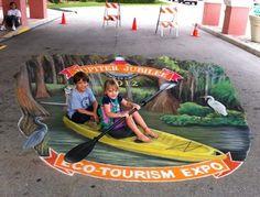 3D Chalk Art of Jennifer Nichols Chaparro, in Jupiter. Florida www.AmazingStreetPainting.com