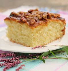 Lazy Day Cake is a delicious old fashioned cake. With cream and butter in the batter and topping , it's amazing. It rises up nice and tall with a fluffy tender texture.