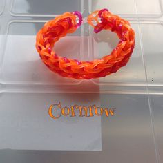 Glitter orange & pink Cornrow bracelet, made on 2 forks