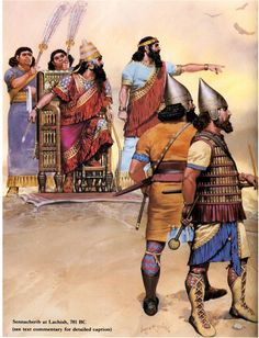 Assyrian King Sennacherib - 701 BC - art by Angus McBride. A new book posits the theory that the Hanging Garden of Babylon was actually built by Sennacherib in Assyria and not Nebuchadnezzar in Babylon, as previously thought Ancient Mesopotamia, Ancient Civilizations, Ancient Egypt, Ancient History, Ancient Greece, Women's History, European History, American History, Epic Of Gilgamesh