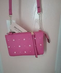 JUICY COUTURE Crossbody Handbag. BRAND NEW. Pink with long strap and pearl studs   Clothing, Shoes & Accessories, Women's Bags & Handbags   eBay!