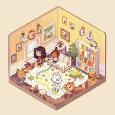 Animal Crossing Fan Art, Animal Crossing Characters, Game Themes, Party Themes, Architecture Background, Pretty Drawings, Cute House, Freelance Illustrator, Cute Illustration