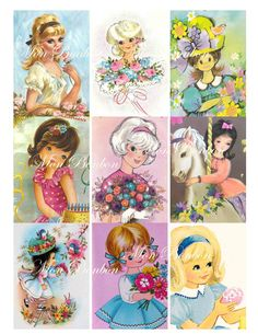 Digital Collage Sheet of Vintage and Retro 1960 - 1970 Cute Girl Images - INSTANT DOWNLOAD. $2.99, via Etsy.