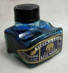 Elefante Luxury Vintage Blue Black Ink Bottle 1940 Made in Argentina