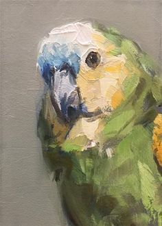 """Daily Paintworks - """"Blue Fronted Amazon"""" - Original Fine Art for Sale - © Gary Bruton"""