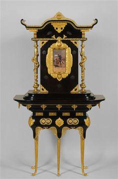 """Two bodies cabinet, Édouard Lièvre, 1877. #Orsay Museum, #Paris ""  New blog post on #MarcMaison website #furniture #art #19thcentury #japonism #japonisme #french"