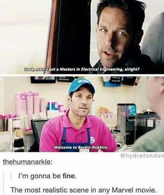 Most realistic scene in marvel ever... and in life.