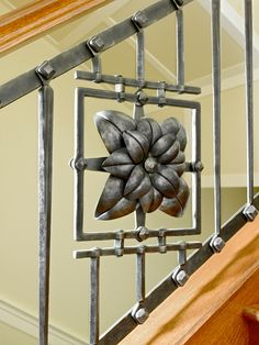 Architectural - Lotus Railing by artist blacksmith jake james Blacksmith Workshop, Blacksmith Forge, Blacksmith Projects, Metal Gates, Iron Gates, Metal Projects, Welding Projects, Forging Metal, Iron Art