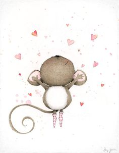 art print wall art mouse love cute water von staceyyacula