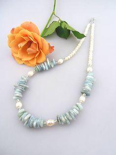 akvamarín perly striebro náhrdelník