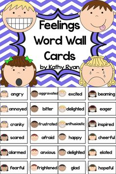 "Are you tired of the same boring feelings vocabulary your students are using in their stories and reading responses? Use these 70+ feelings vocabulary word cards to help your students move past ""happy,"" ""sad,"" and ""angry."" You'll be THRILLED you did!"