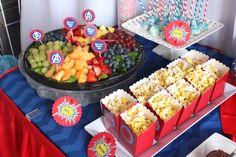 Frutas y palomitas