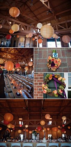 Paper lanterns. via engagedandinspired.com  Another mildale but with long tables